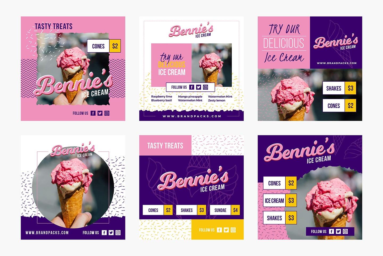 Ice Cream Social Media Templates