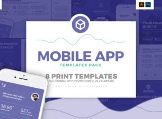 Mobile App Templates Pack - Photoshop PSD & Illustrator Ai, Vector