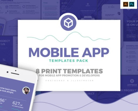 Mobile App Templates Pack - Photoshop PSD & Illustrator Ai, Vector
