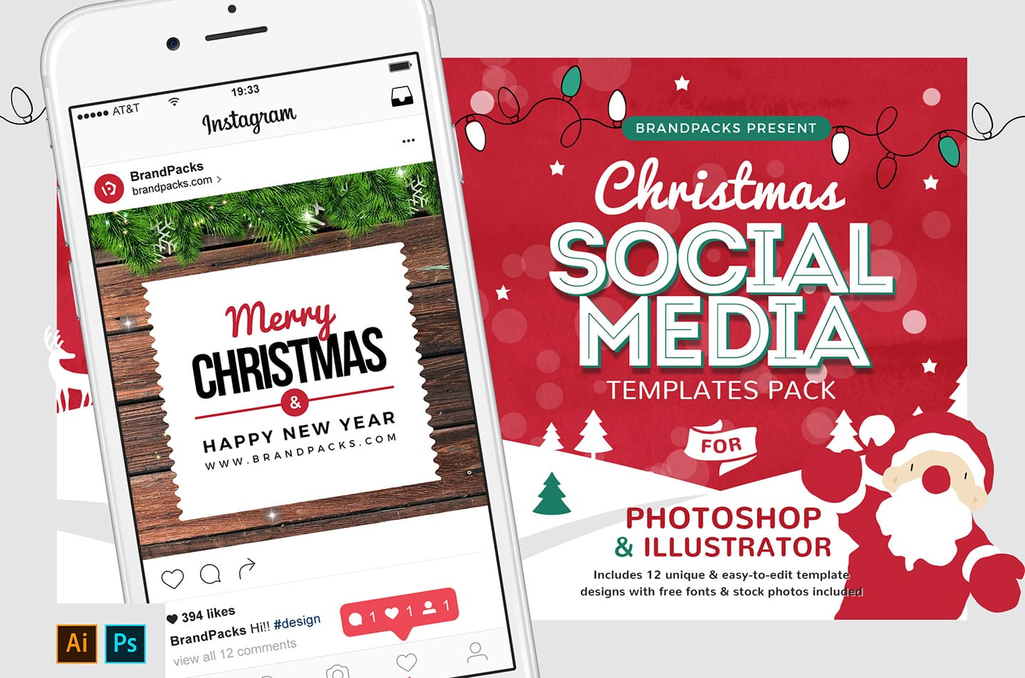 Christmas Social Media Templates - PSD, Ai & Vector - BrandPacks