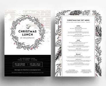 A4 Christmas Menu Templates