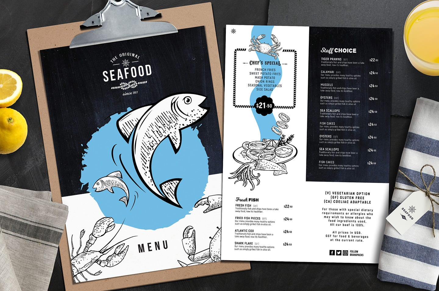 A4 Fish Restaurant Menu Templates