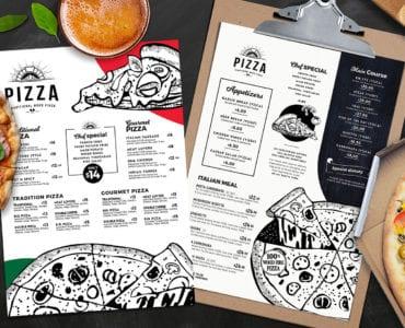 A4 Pizza Restaurant Menu Templates