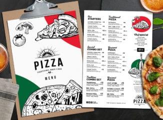 A4 Pizza Restaurant Menu Layouts