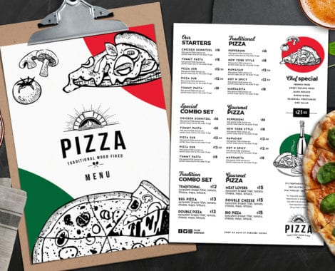 A4 Pizza Restaurant Menu Layouts