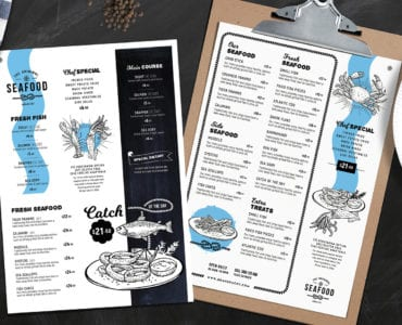A4 Seafood Menu Templates