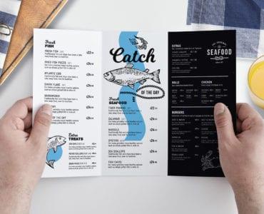 A4 Trifold Seafood Menu Template