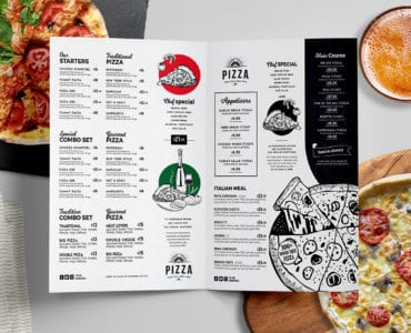 Folding Pizza Menu Template