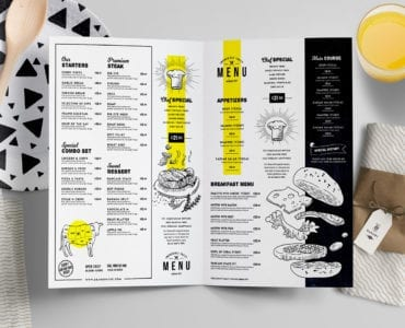A4 Folding Restaurant Menu Template