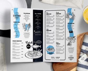 Folding Seafood Menu Templates