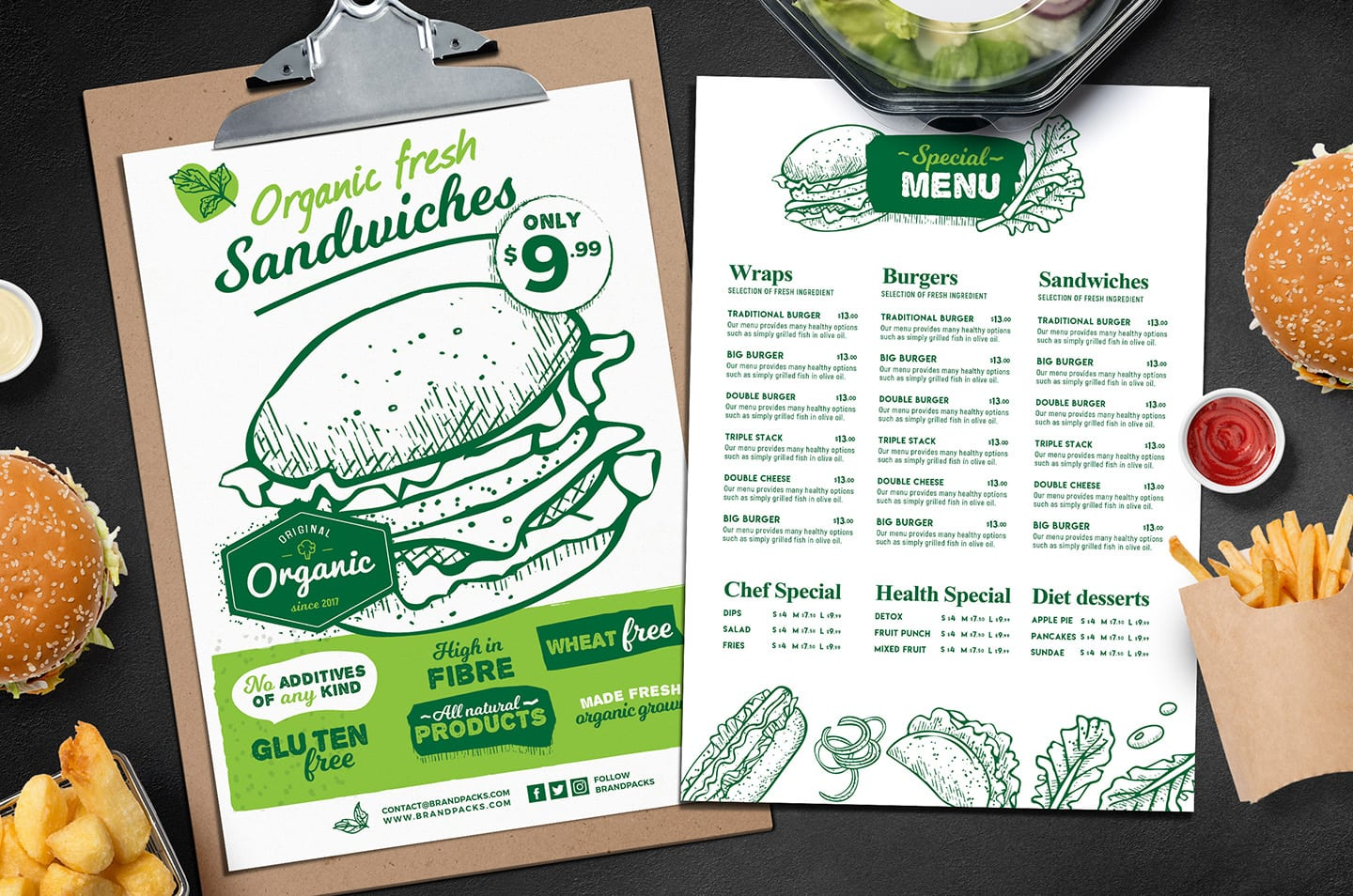 A4 Burger Menu Templates