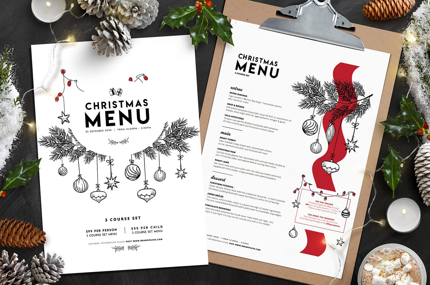 Christmas Menu.Christmas Menu Template Vol 3 Brandpacks