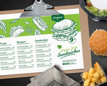 Landscape Burger Menu Template
