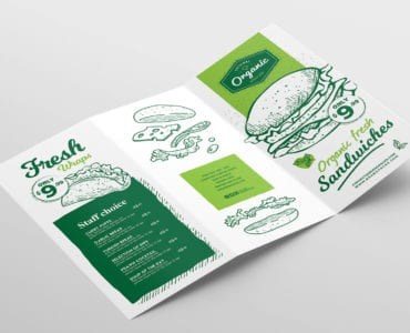 Tri-Fold Burger Menu Template Outside