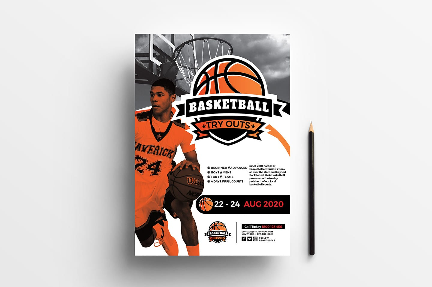 A4 Basketball Advertisement Template