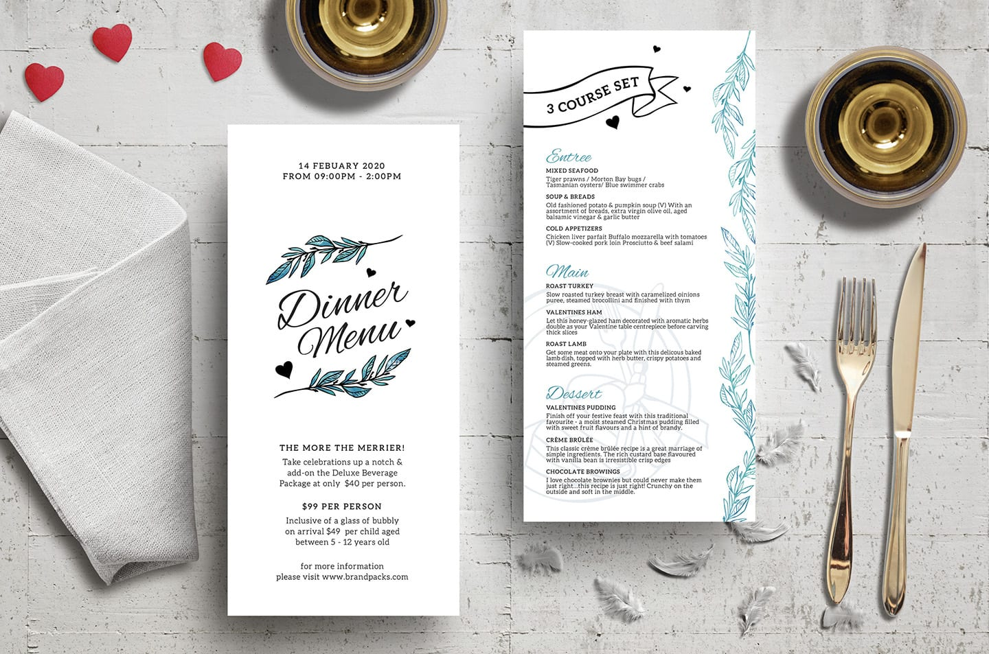 DL Valentine's Menu Template