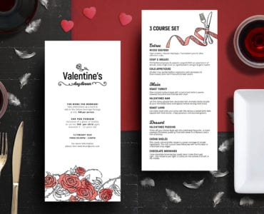 Small Valentine's Day Menu Template
