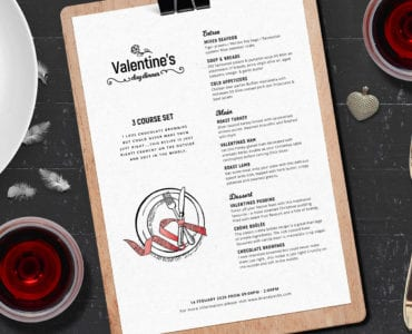 Valentines Menu Template PSD & Vector