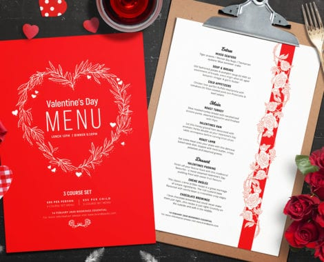 Valentine's Day Menu Layout