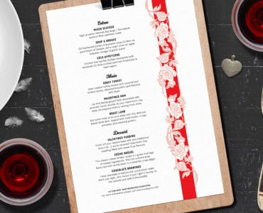 Valentines Menu Design