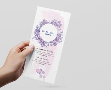 Valentine's Menu Template Rack Card