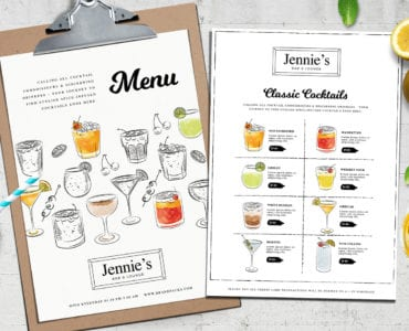 A4 Cocktail Menu Template