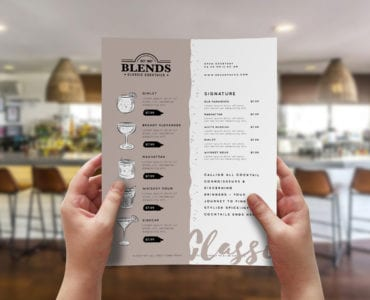 A4 Drinks Menu Templates