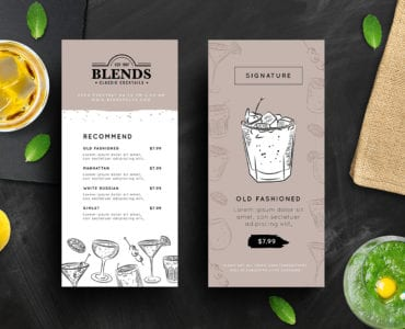 Cocktail Menu Rack Card Templates