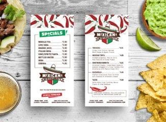 DL Mexican Restaurant Menu Card Template