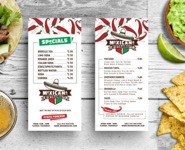 DL Mexican Restaurant Menu Card Template