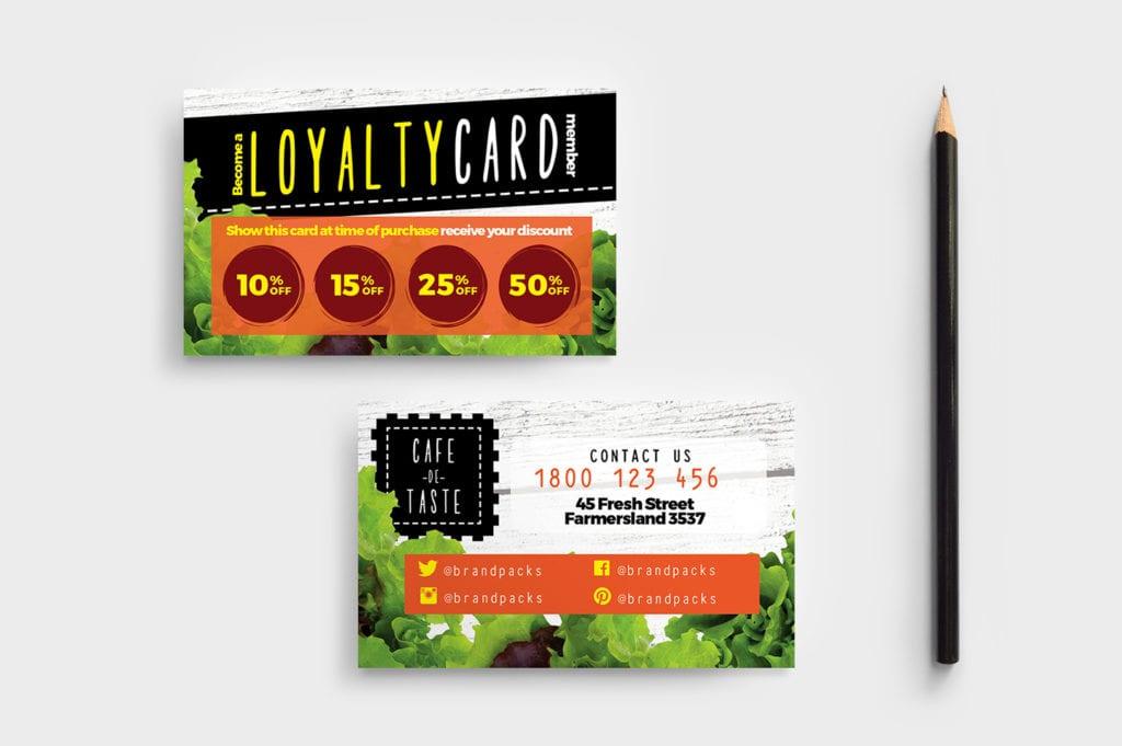 Salad Restaurant Loyalty Card Template
