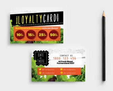 Salad Restaurant Loyalty Card Template