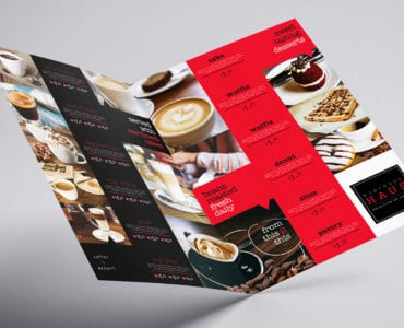Folding A3 Cafe Menu Template
