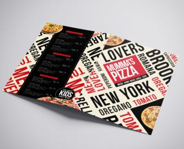 A3 Folding Pizza Menu Template