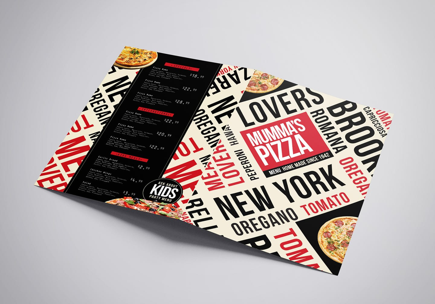 A3 Folding Pizza Menu Template