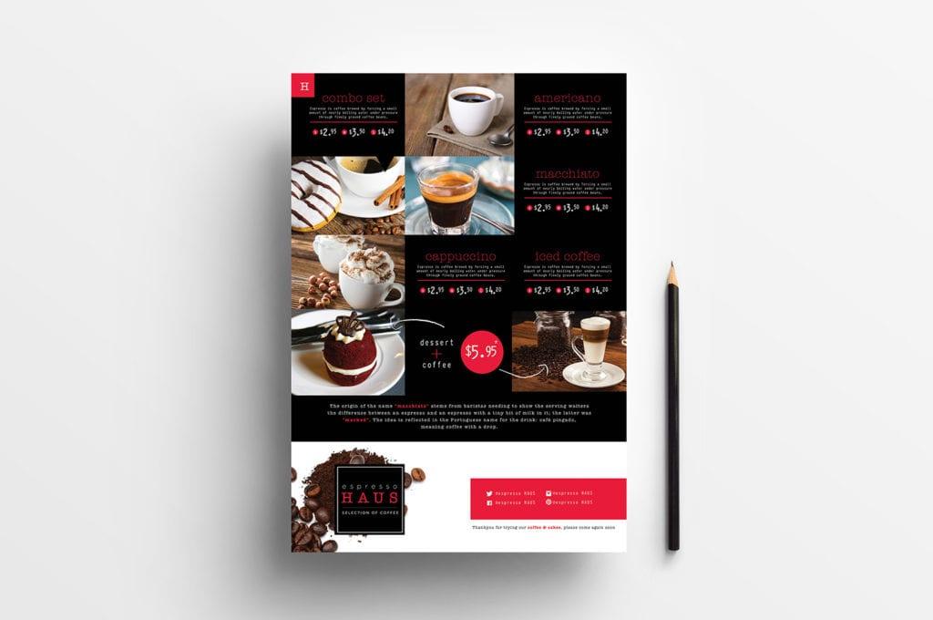 A4 Cafe Menu Template