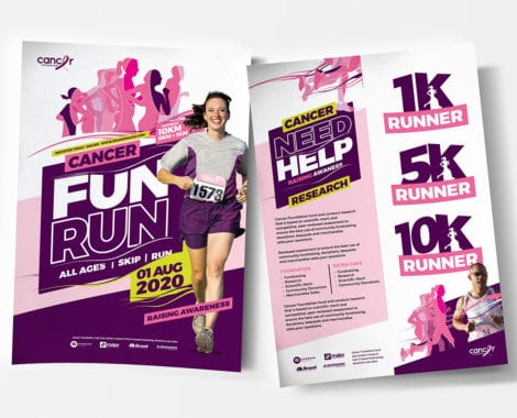 A4 Cancer Fun Run Advertisement Template