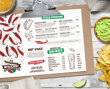 A4 Landscape Mexican Menu Templates