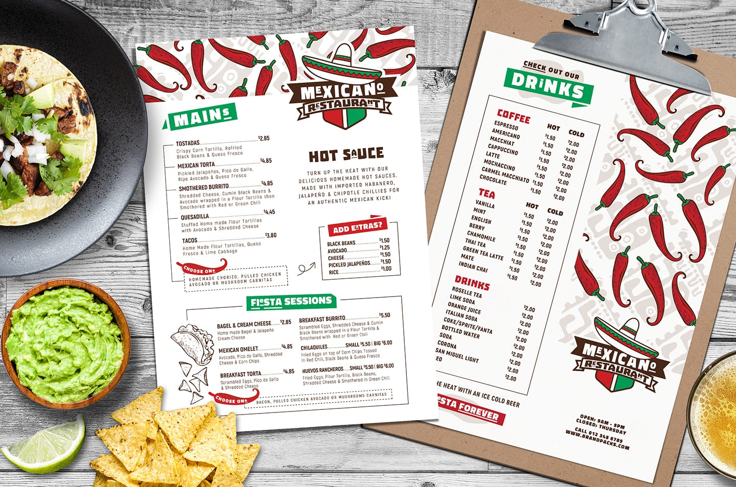 A4 Mexican Menu Template