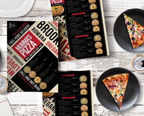 A4 Pizza Menu Template