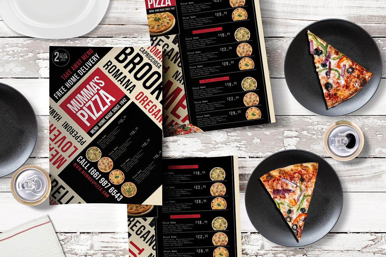 A4 Pizza Menu Template