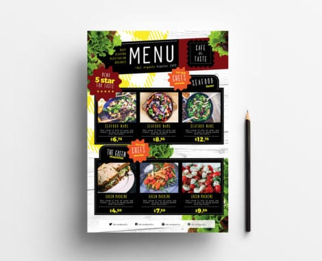 A4 Salad Menu Template