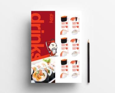 A4 Sushi Menu Template Front