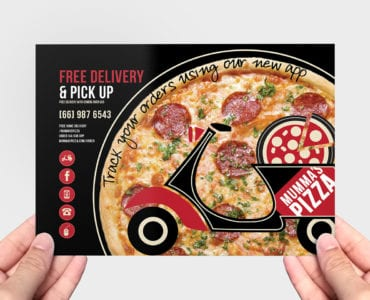 A5 Pizza Flyer Template