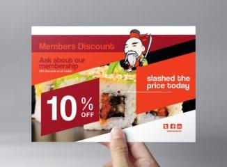 A5 Sushi Restaurant Flyer Template