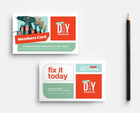 DIY Tool Supply Business Card Template