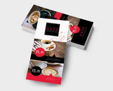 DL Cafe Menu Rack Card Template