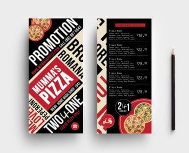 DL Pizza Menu Rack Card Template