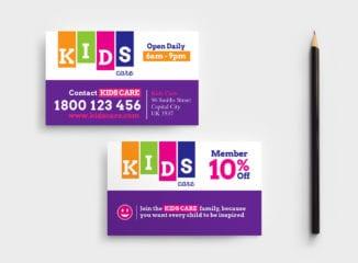Kids Care Business Card Template
