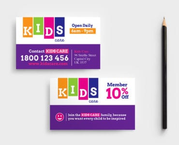 Kids Care Business Card Template